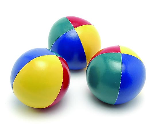 A load of balls. These are the classic ones you will use to learn the art of juggling