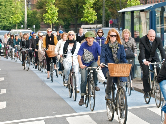 Copenhagen, city of cyclists. Count the lids. Not so many. But what you can't see is years of reinforced positive driver behaviour where all road users are treated equally.