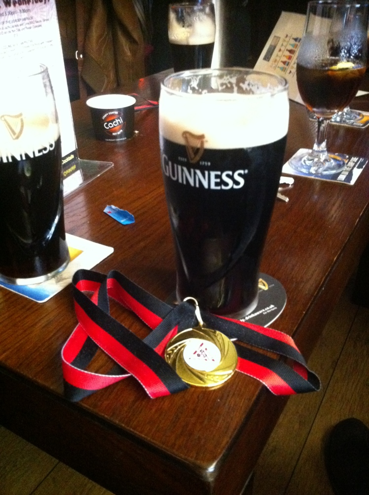 Well-earned; both medal and pint.