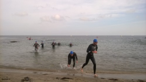 Leaving the water at the end of the first lap. My attempts to splash the onlookers were rather feeble...