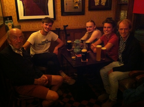 The Salmon Leap pub, Leixlip, with my Dad, Adam, Dallan, Saul and Robert. And beer.