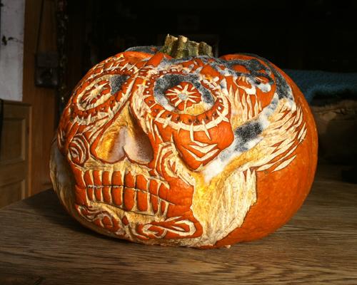Pumpkin with a Día de Muertos feel!